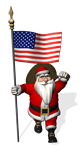 Funny Patriotic Santa Claus Visiting The United States Of America